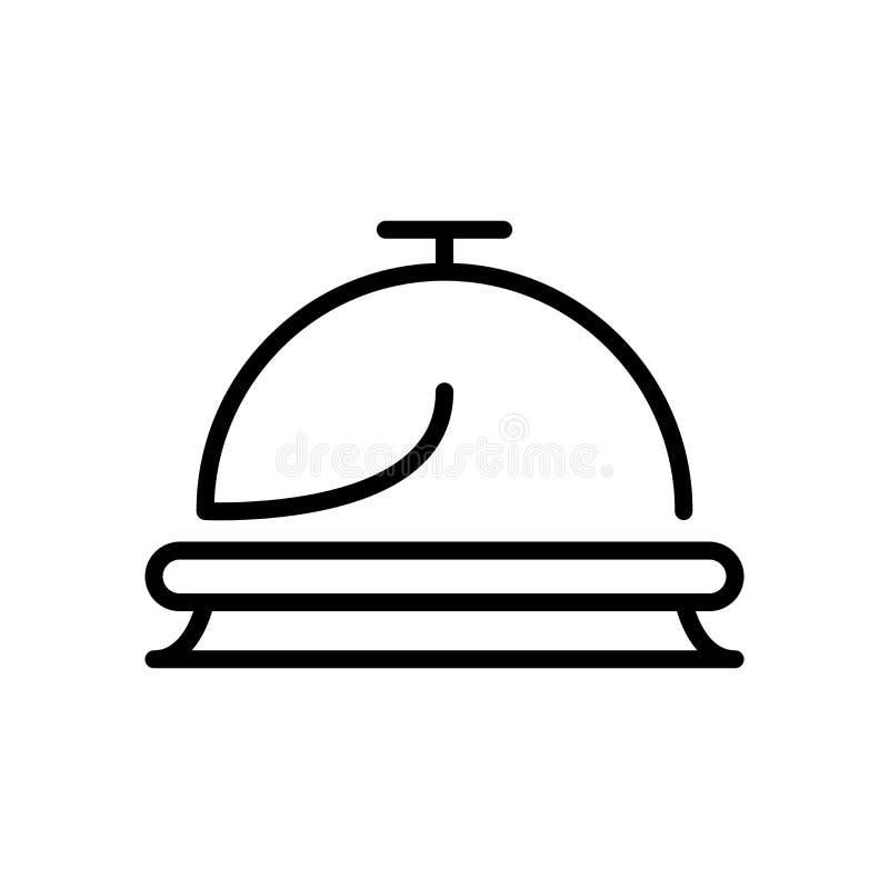 Vector del icono de la recepción aislado en el fondo, la muestra de la recepción, la línea y los elementos blancos del esquema en ilustración del vector