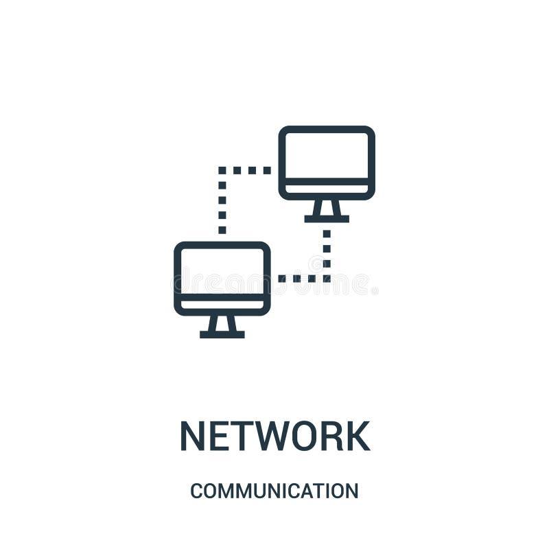 vector del icono de la red de la colección de la comunicación Línea fina ejemplo del vector del icono del esquema de la red Símbo stock de ilustración