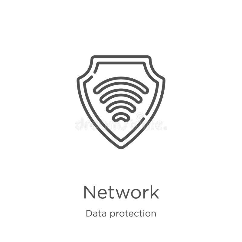 vector del icono de la red de la colecci?n de la protecci?n de datos L?nea fina ejemplo del vector del icono del esquema de la re stock de ilustración