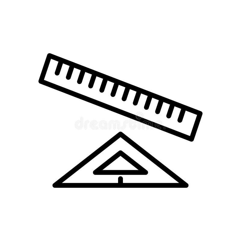 Vector del icono de la regla aislado en el fondo, la muestra de la regla, la línea y los elementos blancos del esquema en estilo  ilustración del vector