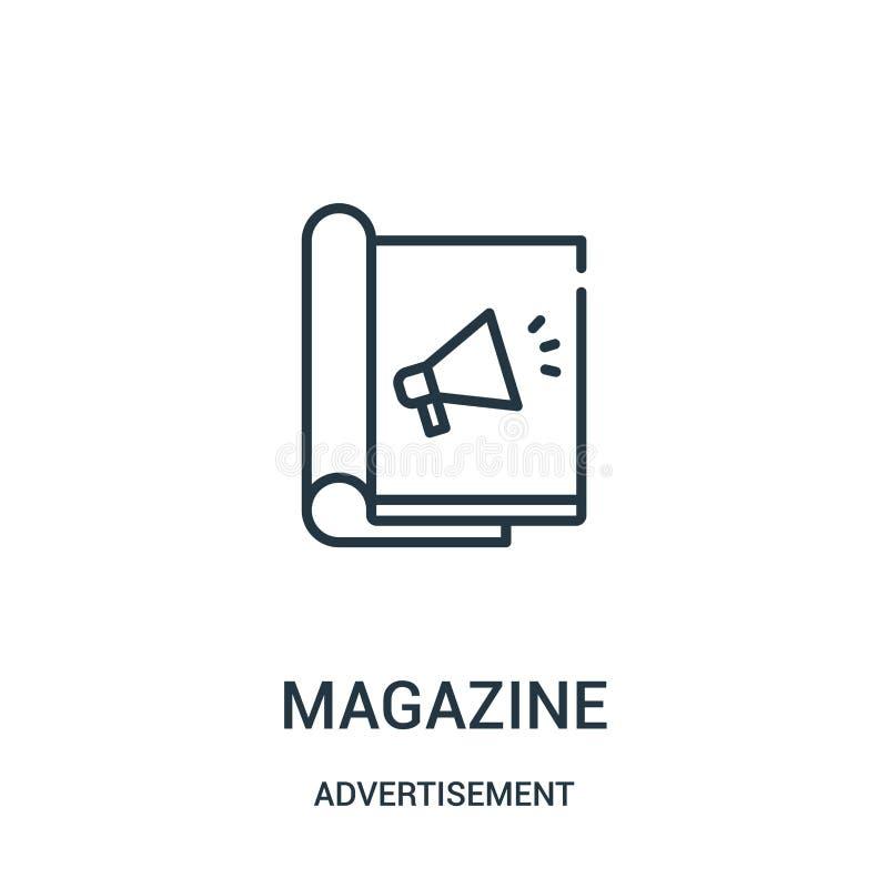 vector del icono de la revista de la colección del anuncio L?nea fina ejemplo del vector del icono del esquema de la revista ilustración del vector