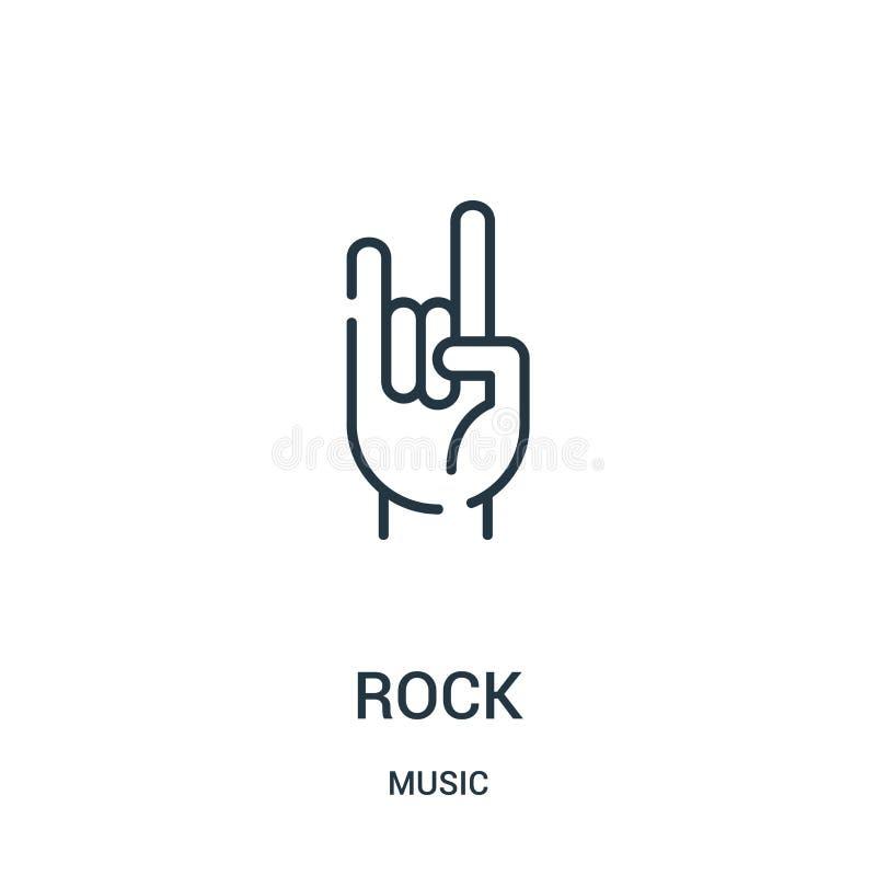 vector del icono de la roca de la colecci?n de m?sica L?nea fina ejemplo del vector del icono del esquema de la roca ilustración del vector