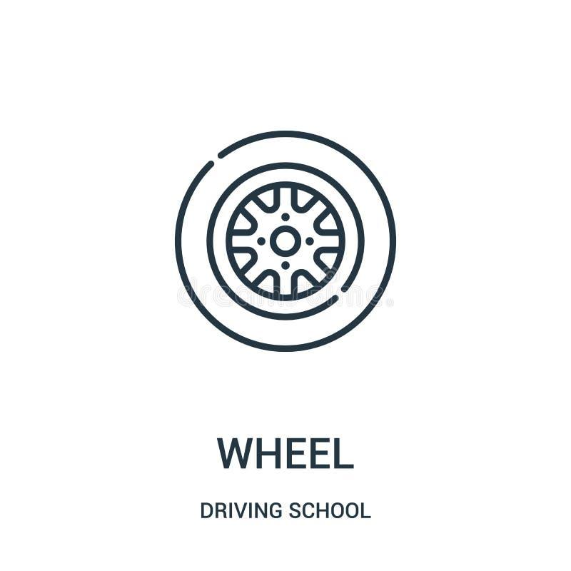 vector del icono de la rueda de la colección de la escuela de conducción L?nea fina ejemplo del vector del icono del esquema de l ilustración del vector
