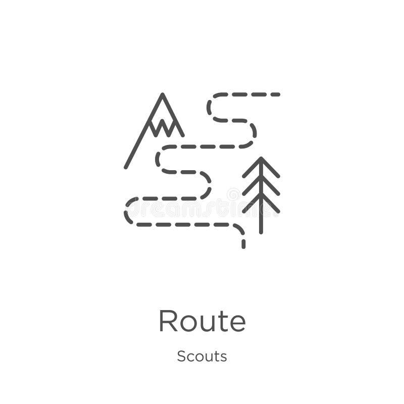 vector del icono de la ruta de la colección de los exploradores Línea fina ejemplo del vector del icono del esquema de la ruta Es libre illustration