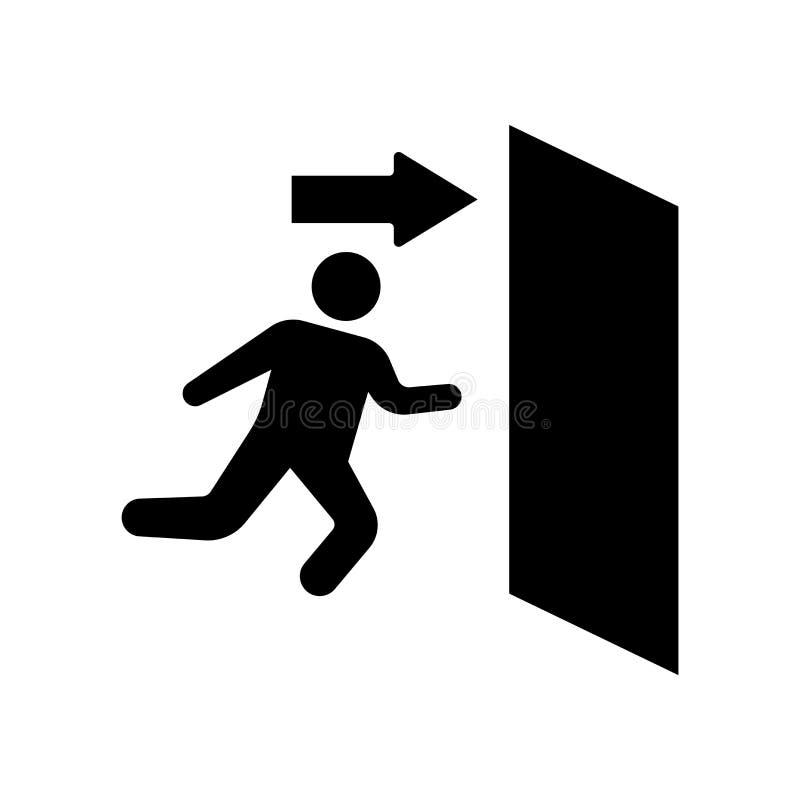 Vector del icono de la salida de emergencia aislado en el fondo blanco, Emergen ilustración del vector
