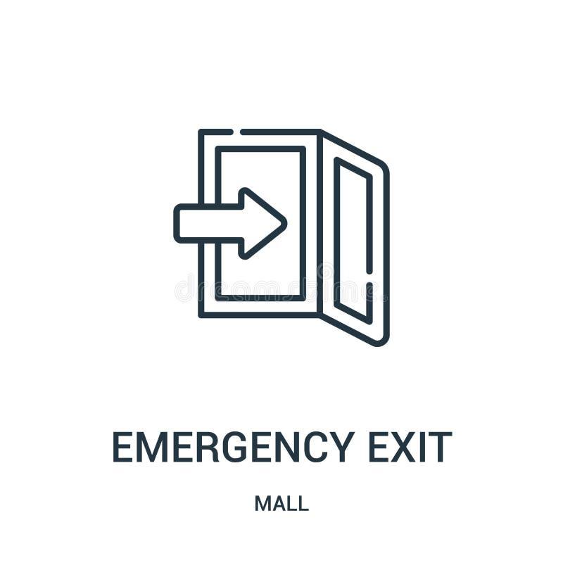 vector del icono de la salida de emergencia de la colección de la alameda Línea fina ejemplo del vector del icono del esquema de  libre illustration