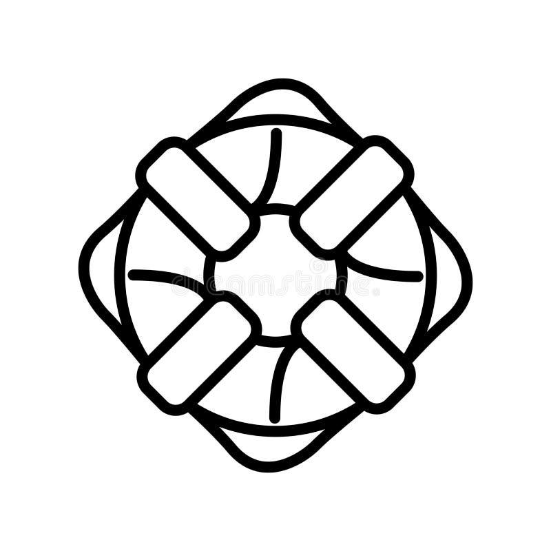 Vector del icono de la salvación aislado en el fondo, la muestra de la salvación, la línea y los elementos blancos del esquema en libre illustration