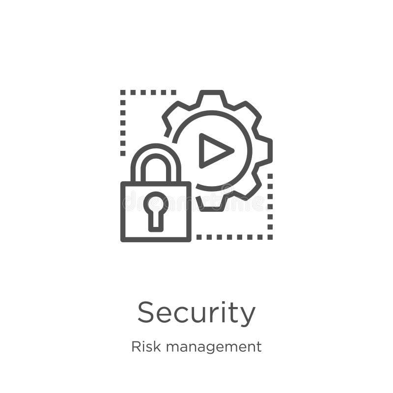 vector del icono de la seguridad de la colección de la gestión de riesgos Línea fina ejemplo del vector del icono del esquema de  libre illustration