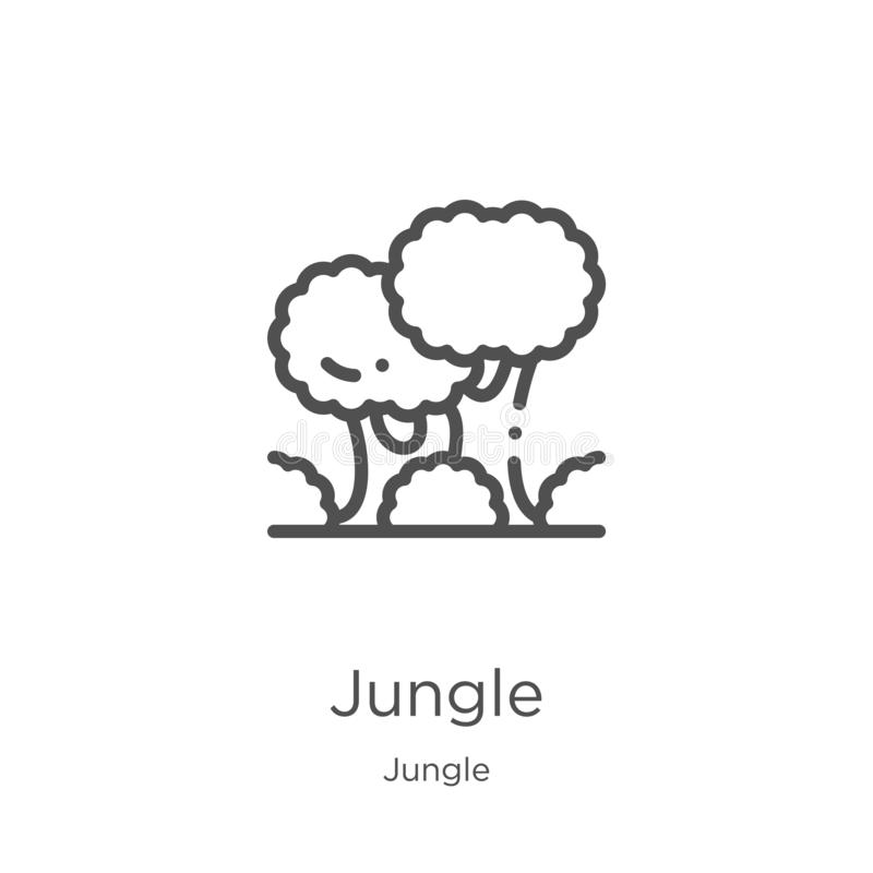 vector del icono de la selva de la colección de la selva Línea fina ejemplo del vector del icono del esquema de la selva Esquema, stock de ilustración