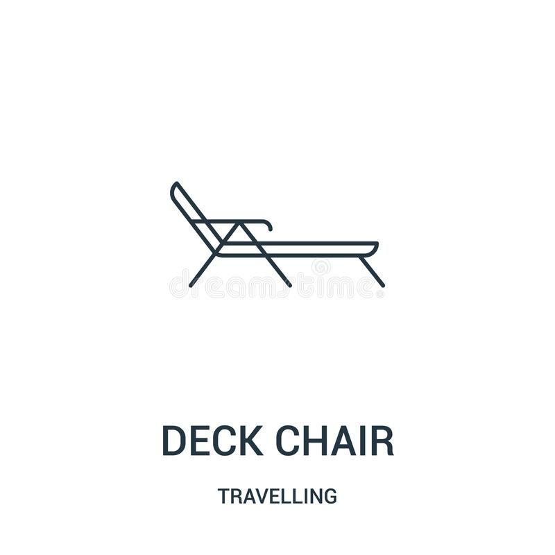 vector del icono de la silla de cubierta de la colección que viaja Línea fina ejemplo del vector del icono del esquema de la sill libre illustration
