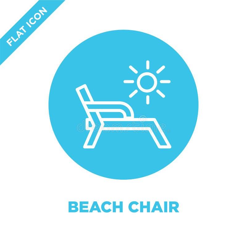 vector del icono de la silla de playa de la colección de las estaciones Línea fina ejemplo del vector del icono del esquema de la libre illustration