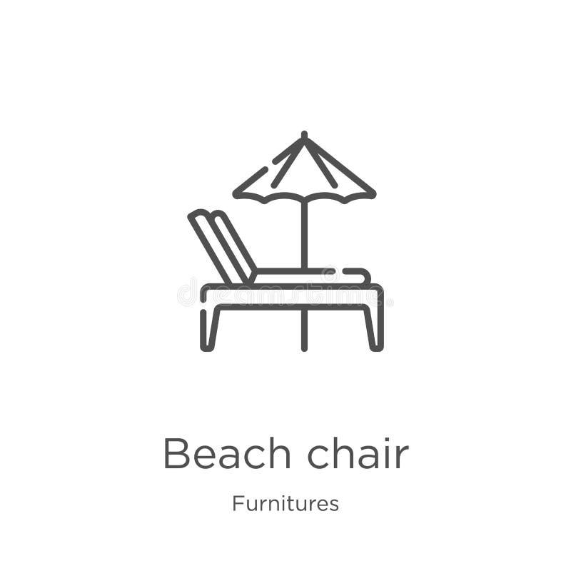 vector del icono de la silla de playa de la colección de los muebles L?nea fina ejemplo del vector del icono del esquema de la si stock de ilustración