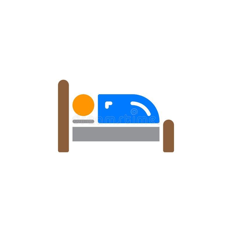 Vector del icono de la sola cama, muestra plana llenada, pictograma colorido sólido aislado en blanco ilustración del vector