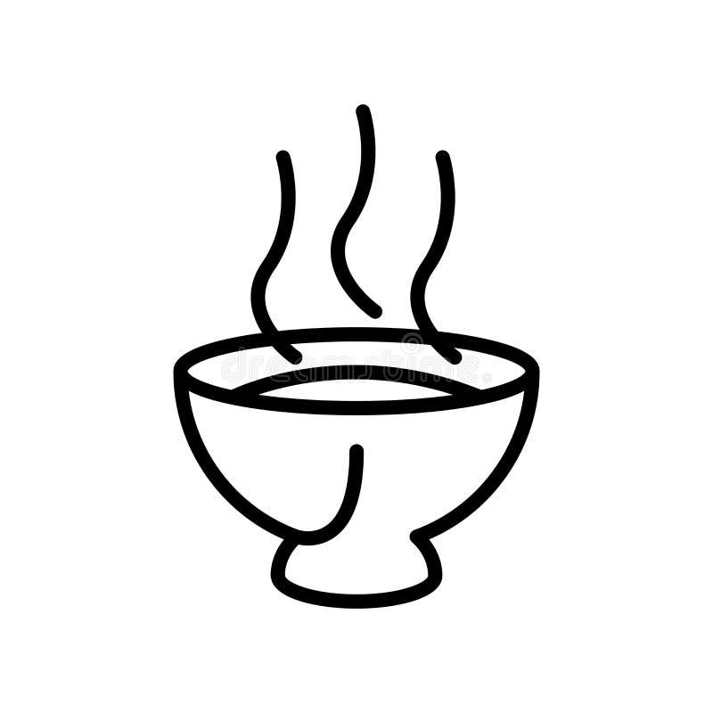 Vector del icono de la sopa aislado en el fondo, la muestra de la sopa, la línea y los elementos blancos del esquema en estilo li ilustración del vector