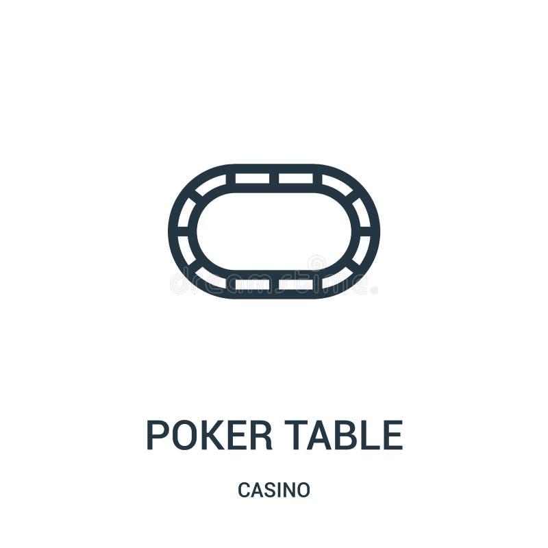 vector del icono de la tabla del póker de la colección del casino Línea fina ejemplo del vector del icono del esquema de la tabla ilustración del vector