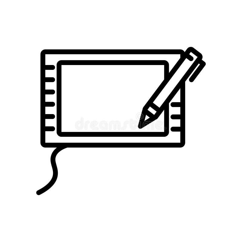 Vector del icono de la tableta gráfica aislado en el fondo blanco, la muestra de la tableta gráfica, la línea y elementos del esq libre illustration
