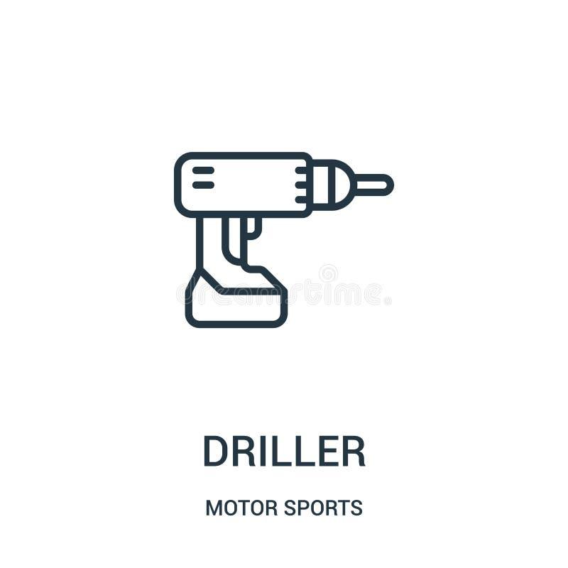 vector del icono de la taladradora de la colección de los deportes de motor Línea fina ejemplo del vector del icono del esquema d ilustración del vector