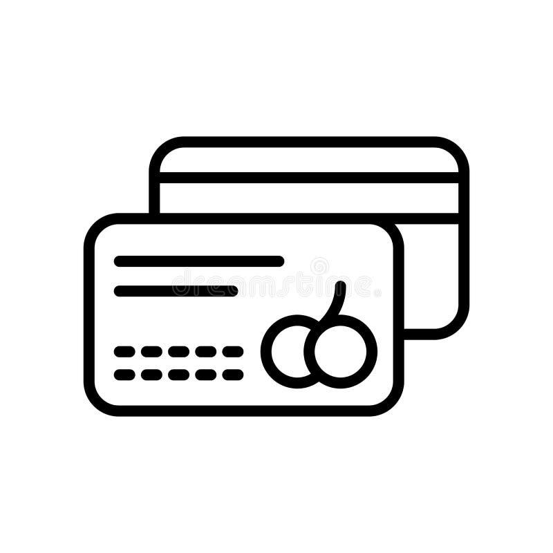 Vector del icono de la tarjeta de crédito aislado en la muestra blanca del fondo, de la tarjeta de crédito, la línea y elementos  stock de ilustración