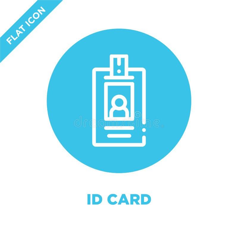 Vector del icono de la tarjeta de la identificación Línea fina ejemplo del vector del icono del esquema de la tarjeta de la ident libre illustration