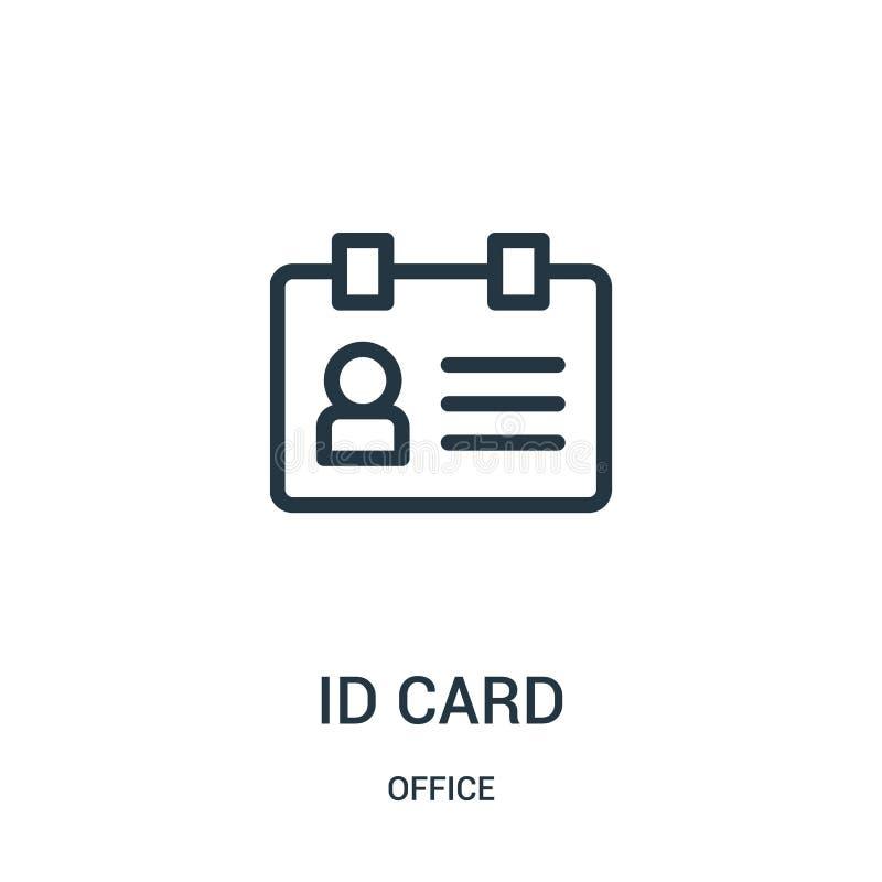 vector del icono de la tarjeta de la identificaci?n de la colecci?n de la oficina L?nea fina ejemplo del vector del icono del esq ilustración del vector