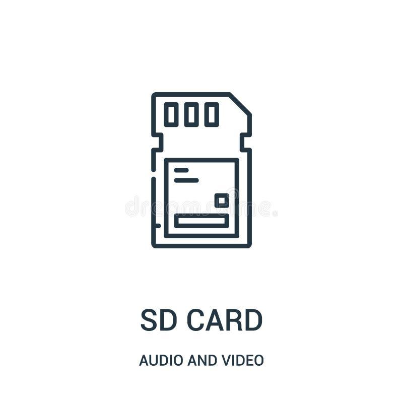 vector del icono de la tarjeta del sd de la colección audio y video L?nea fina ejemplo del vector del icono del esquema de la tar stock de ilustración