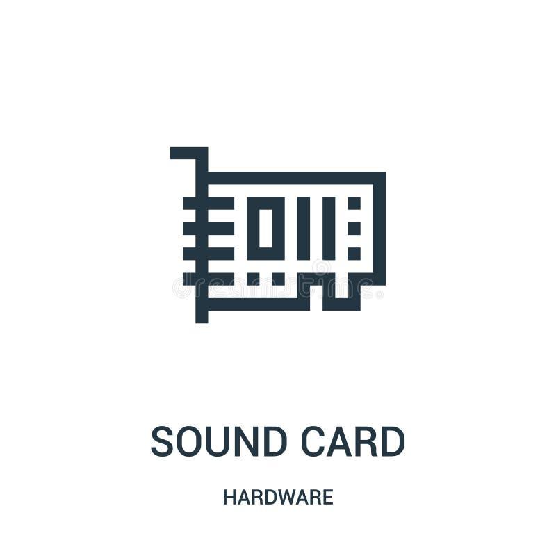 vector del icono de la tarjeta de sonido de la colección del hardware Línea fina ejemplo del vector del icono del esquema de la t stock de ilustración