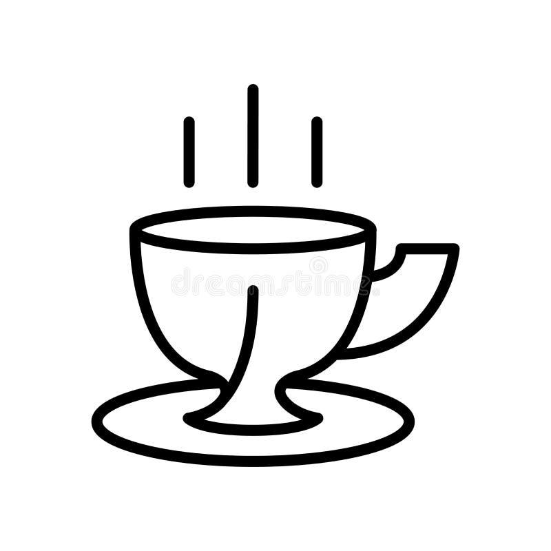 Vector del icono de la taza de café aislado en la muestra blanca del fondo, de la taza de café, la línea y elementos del esquema  stock de ilustración