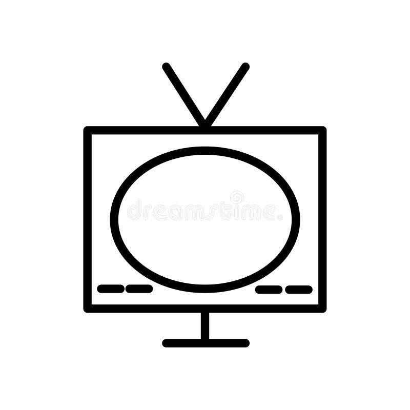 Vector del icono de la televisión aislado en el fondo, la muestra de la televisión, la línea y los elementos blancos del esquema  ilustración del vector
