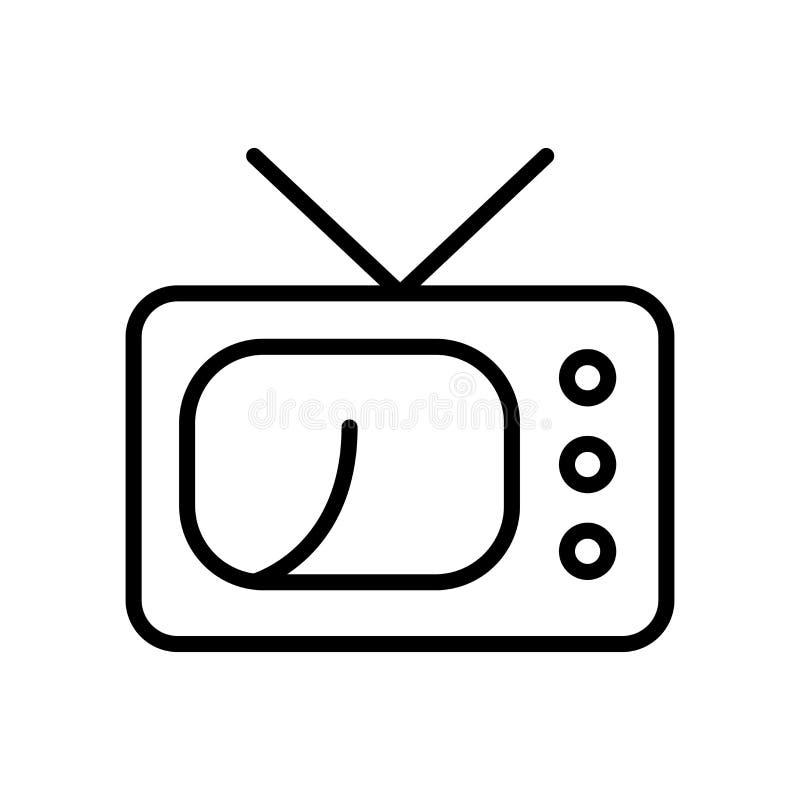 Vector del icono de la televisión aislado en el fondo, la muestra de la televisión, la línea y los elementos blancos del esquema  libre illustration
