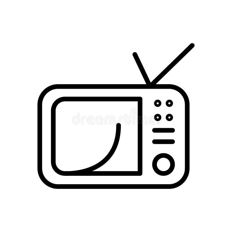 Vector del icono de la televisión aislado en el fondo, la muestra de la televisión, la línea y los elementos blancos del esquema  stock de ilustración