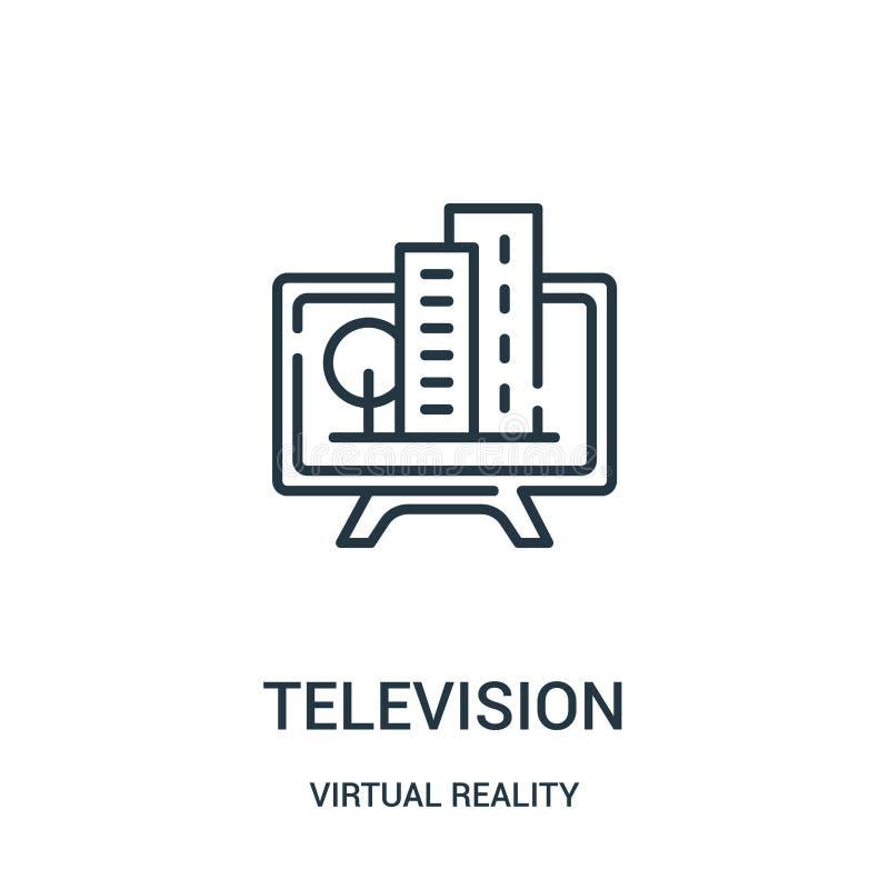 vector del icono de la televisión de la colección de la realidad virtual Línea fina ejemplo del vector del icono del esquema de l libre illustration
