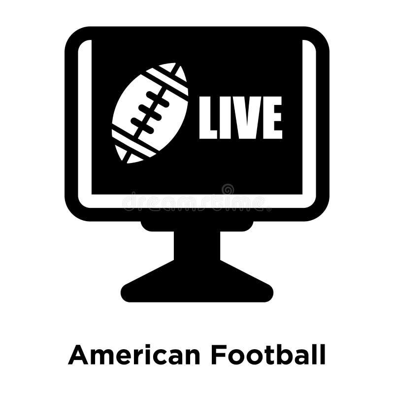 Vector del icono de la televisión del fútbol americano aislado en el backg blanco stock de ilustración