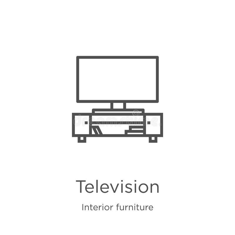 vector del icono de la televisi?n de la colecci?n interior de los muebles L?nea fina ejemplo del vector del icono del esquema de  libre illustration