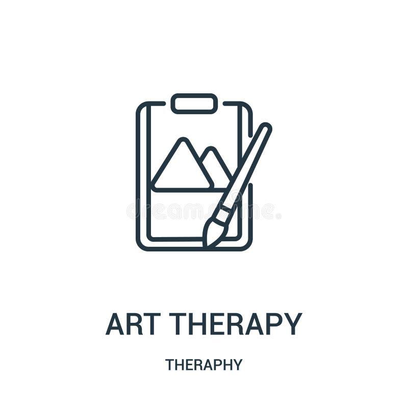 vector del icono de la terapia del arte de la colección del theraphy Línea fina ejemplo del vector del icono del esquema de la te stock de ilustración
