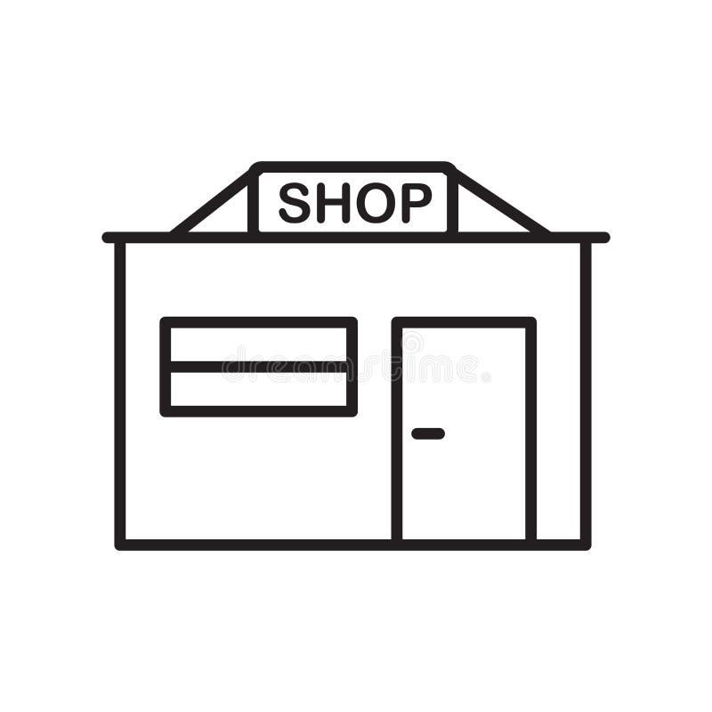 Vector del icono de la tienda aislado en el fondo blanco, muestra de la tienda, línea fina elementos del diseño en estilo del esq stock de ilustración