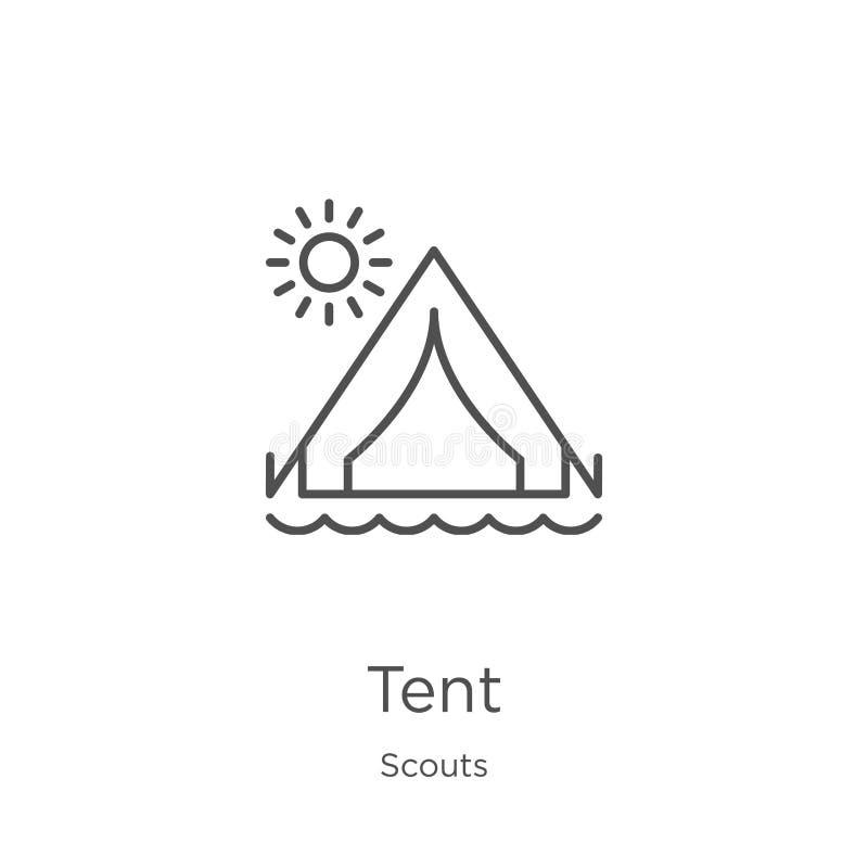 vector del icono de la tienda de la colección de los exploradores Línea fina ejemplo del vector del icono del esquema de la tiend libre illustration