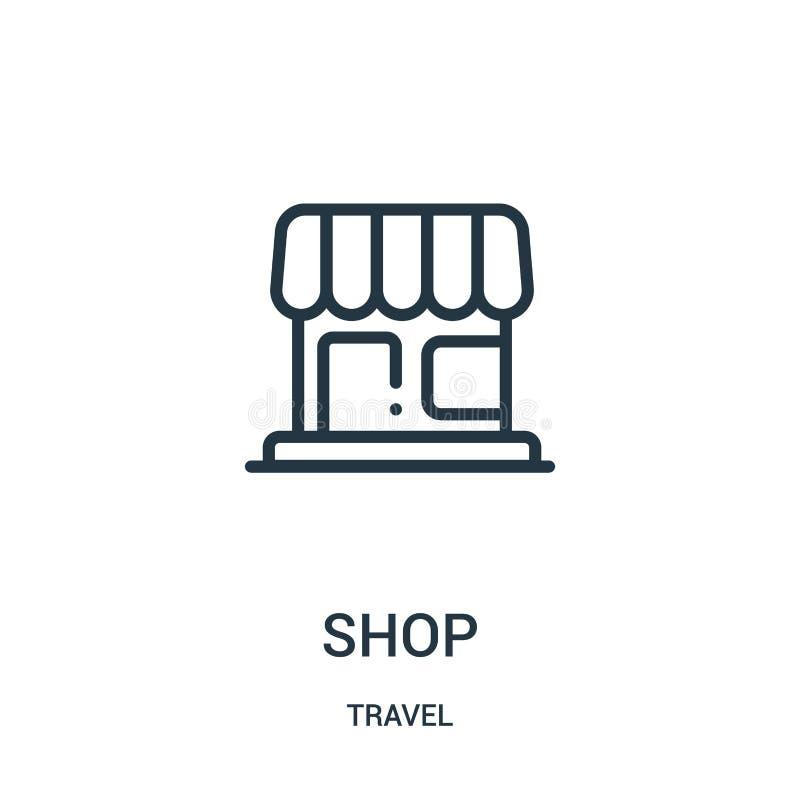 vector del icono de la tienda de la colección del viaje Línea fina ejemplo del vector del icono del esquema de la tienda Símbolo  ilustración del vector