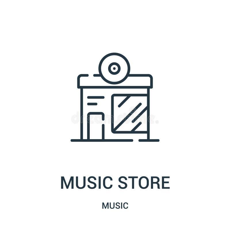 vector del icono de la tienda de la música de la colección de música Línea fina ejemplo del vector del icono del esquema de la ti ilustración del vector