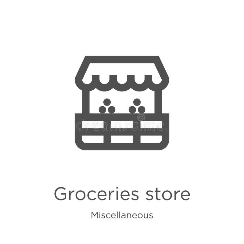 vector del icono de la tienda de ultramarinos de la colección diversa Línea fina ejemplo del vector del icono del esquema de la t stock de ilustración