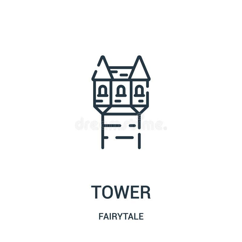 vector del icono de la torre de la colección del cuento de hadas L?nea fina ejemplo del vector del icono del esquema de la torre stock de ilustración