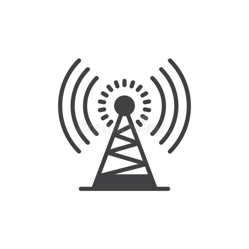 Vector del icono de la torre de antena, muestra plana llenada, pictograma sólido aislado en blanco ilustración del vector