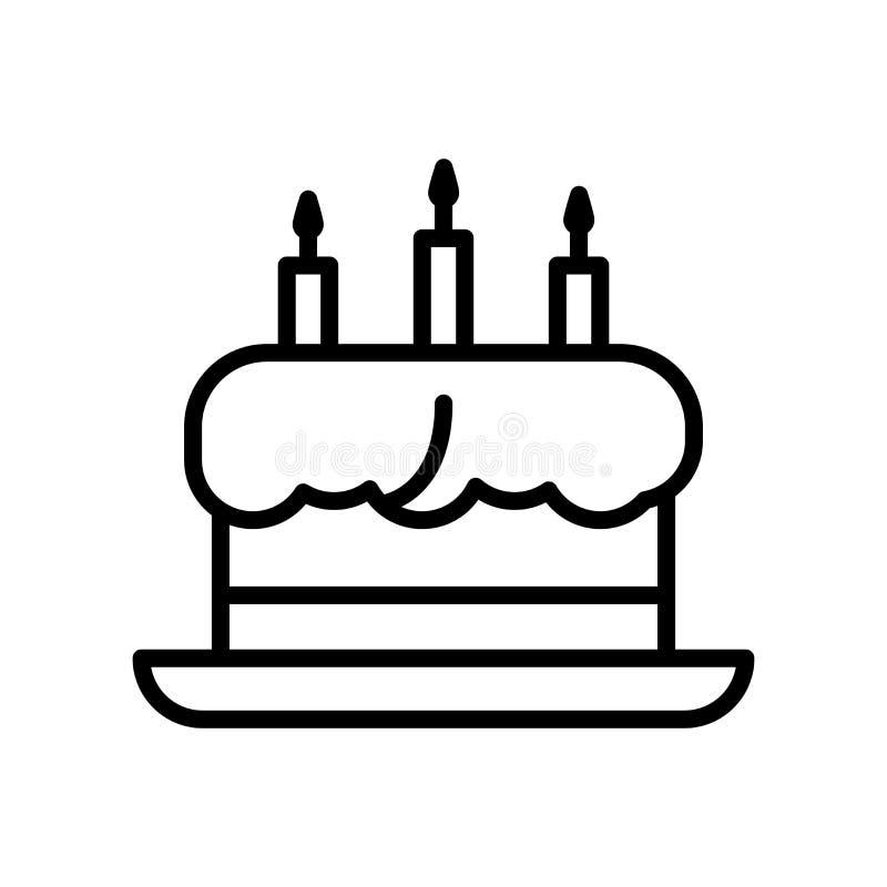 Vector del icono de la torta aislado en el fondo, la muestra de la torta, la línea y los elementos blancos del esquema en estilo  libre illustration