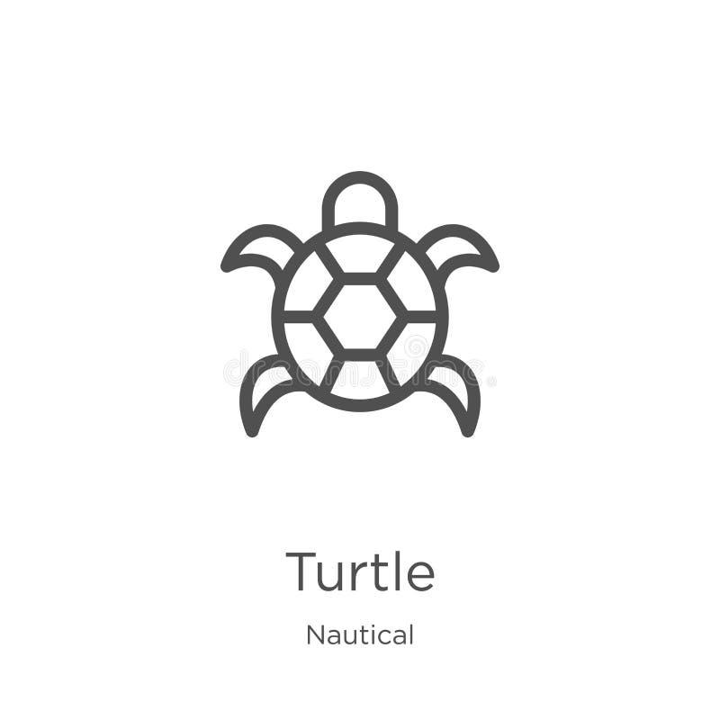 vector del icono de la tortuga de la colección náutica Línea fina ejemplo del vector del icono del esquema de la tortuga Esquema, stock de ilustración