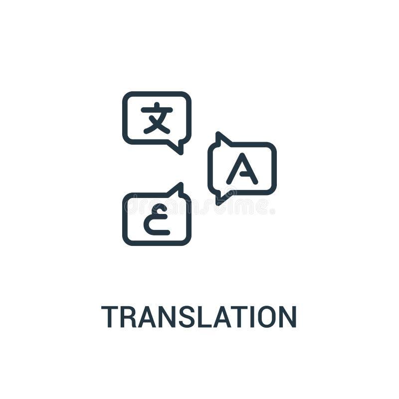 vector del icono de la traducción de la colección del traductor Línea fina ejemplo del vector del icono del esquema de la traducc ilustración del vector