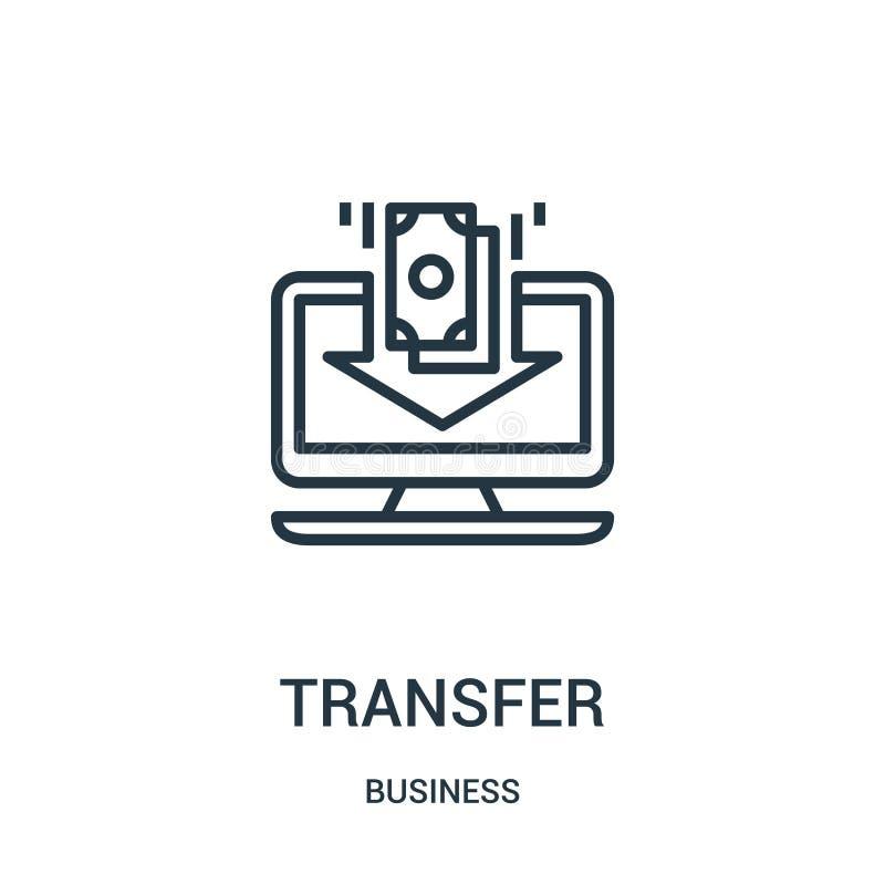 vector del icono de la transferencia de la colección del negocio Línea fina ejemplo del vector del icono del esquema de la transf stock de ilustración