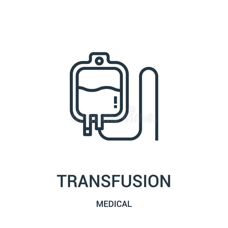 vector del icono de la transfusión de la colección médica Línea fina ejemplo del vector del icono del esquema de la transfusión S ilustración del vector