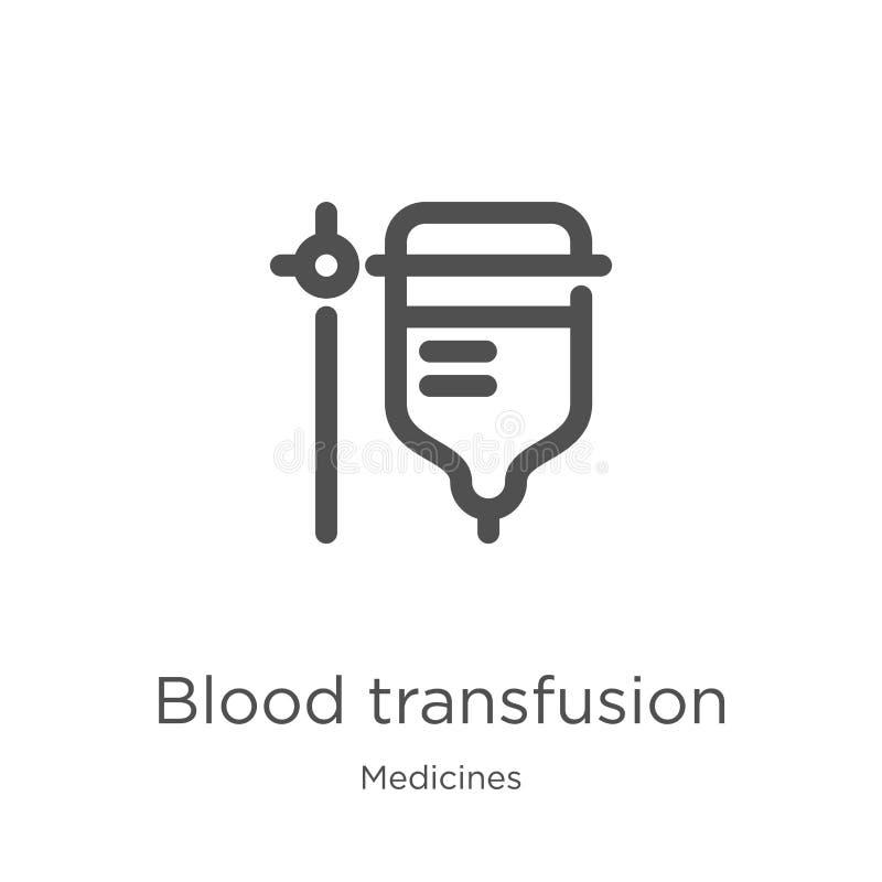 vector del icono de la transfusión de sangre de la colección de las medicinas L?nea fina ejemplo del vector del icono del esquema ilustración del vector