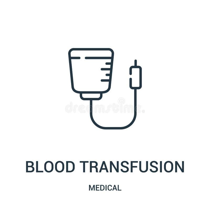 vector del icono de la transfusión de sangre de la colección médica Línea fina ejemplo del vector del icono del esquema de la tra stock de ilustración