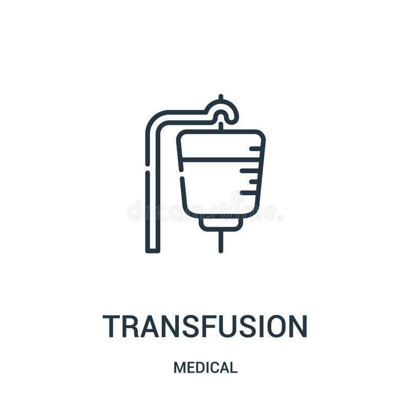 vector del icono de la transfusi?n de la colecci?n m?dica L?nea fina ejemplo del vector del icono del esquema de la transfusi?n ilustración del vector