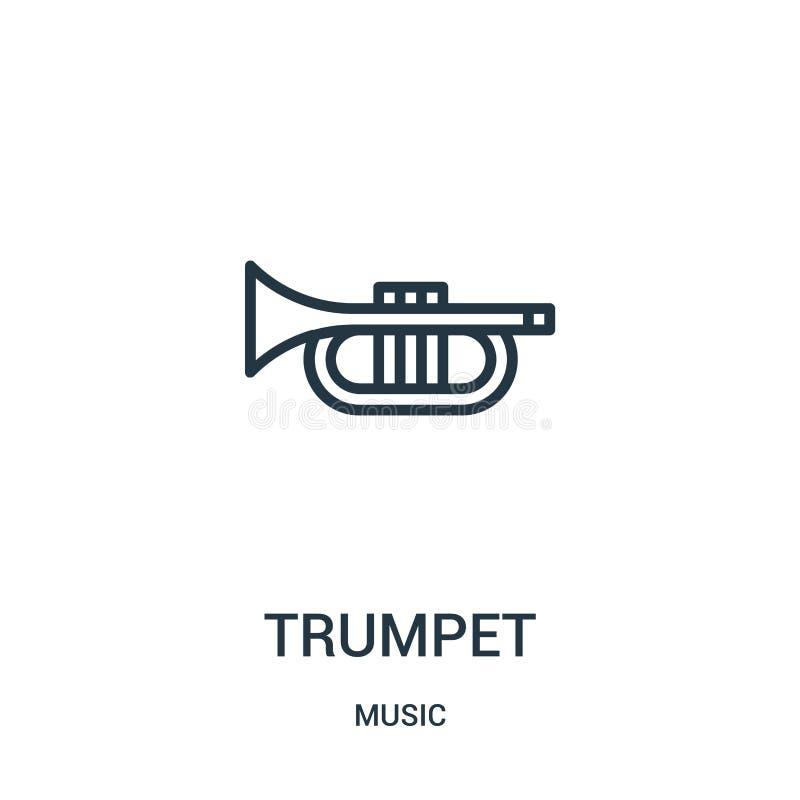 vector del icono de la trompeta de la colección de música L?nea fina ejemplo del vector del icono del esquema de la trompeta ilustración del vector